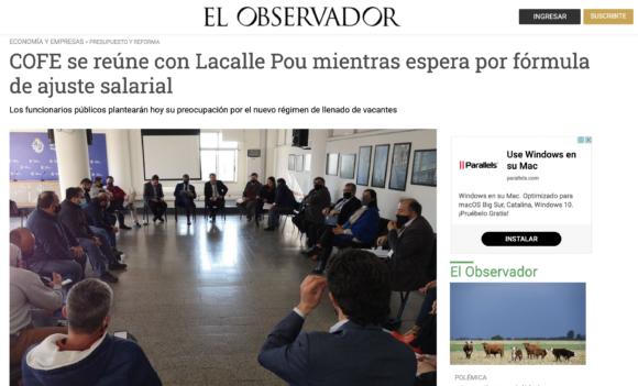COFE se reúne con Lacalle Pou mientras espera por fórmula de ajuste salarial